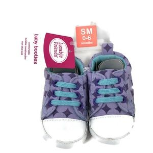 Luvable Friend Baby Booties Purple Non Skid 0-6 M